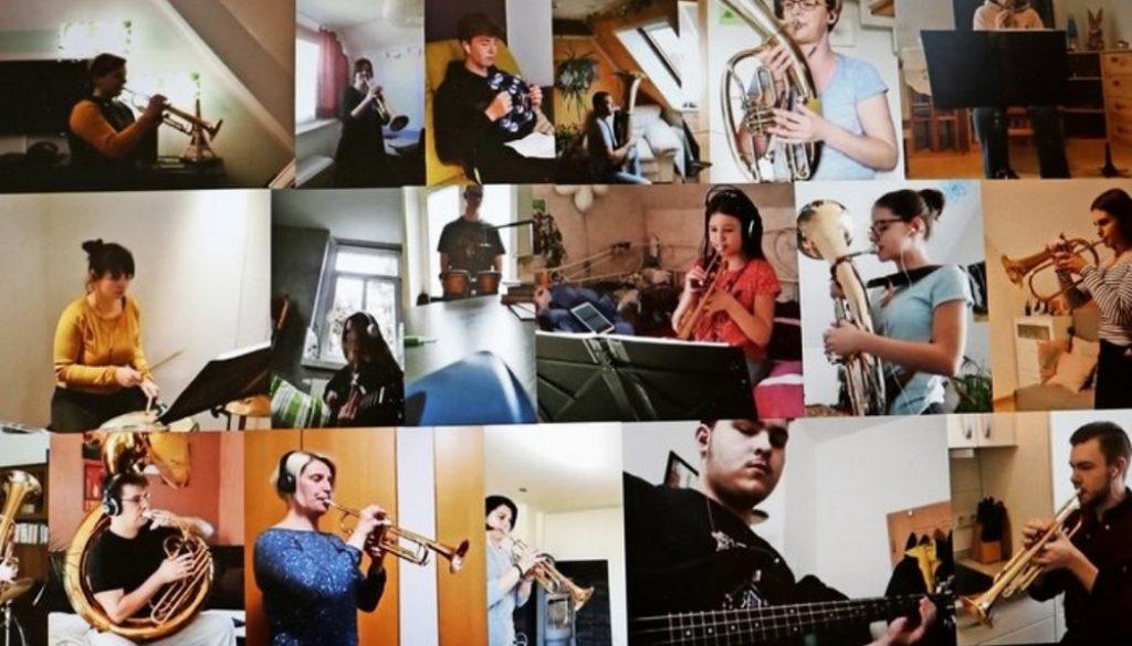 """Solo zu Hause eingespielt und dann zusammen geschnitten: Das Jugendblasorchester wünscht mit einem Video frohe Ostern - und findet damit im Netz zahlreiche Zuhörer. Zu hören ist das Lied """"Morgens um sieben"""" von James Last. Fotos/Montage: JBO Grimma"""