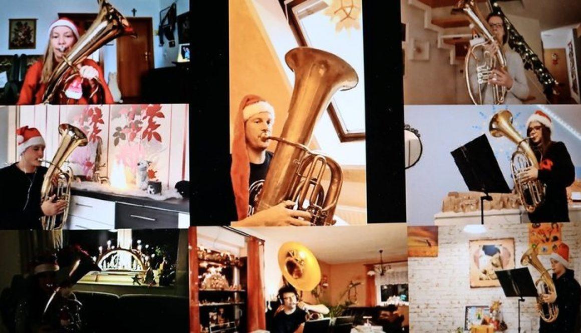 Die Musiker des Grimmaer Jugendblasorchesters spielen für die Zuhörer – jeder für sich im privaten Probenraum. Die einzelnen Stücke hat der Tonmeister des Ensembles zu einem Video zusammengeschnitten. Fotos/Montage: JBO